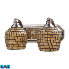Bath And Spa 2 Light LED Vanity In Satin Nickel And Gold Leaf Glass