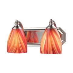 Bath And Spa 2 Light Vanity In Satin Nickel And Multi Glass