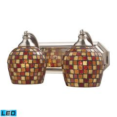 ELK lighting Bath And Spa 2 Light LED Vanity In Satin Nickel And Multi Fusion Glass