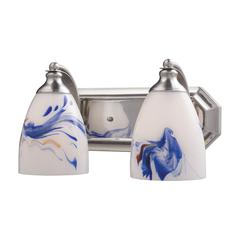 ELK lighting Bath And Spa 2 Light Vanity In Satin Nickel And Mountain Glass