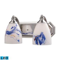 Bath And Spa 2 Light LED Vanity In Satin Nickel And Mountain Glass