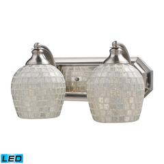 ELK lighting Bath And Spa 2 Light LED Vanity In Satin Nickel And Silver Glass