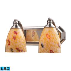 Bath And Spa 2 Light LED Vanity In Satin Nickel And Yellow Glass