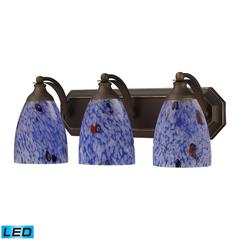 Bath And Spa 3 Light LED Vanity In Aged Bronze And Starburst Blue Glass