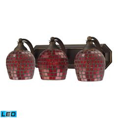 ELK lighting Bath And Spa 3 Light LED Vanity In Aged Bronze And Copper Glass