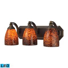 Bath And Spa 3 Light LED Vanity In Aged Bronze And Espresso Glass