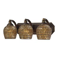 ELK lighting Bath And Spa 3 Light Vanity In Aged Bronze And Gold Leaf Glass