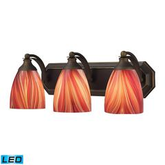 ELK lighting Bath And Spa 3 Light LED Vanity In Aged Bronze And Multi Glass