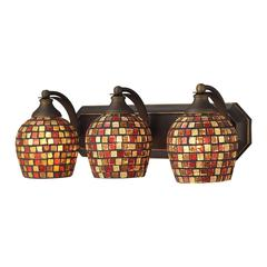 Bath And Spa 3 Light Vanity In Aged Bronze And Multi Fusion Glass
