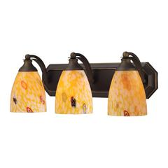Bath And Spa 3 Light Vanity In Aged Bronze And Yellow Glass