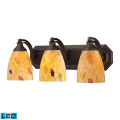 Bath And Spa 3 Light LED Vanity In Aged Bronze And Yellow Glass
