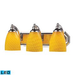 ELK lighting Bath And Spa 3 Light LED Vanity In Polished Chrome And Canary Glass