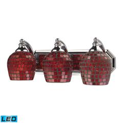 Bath And Spa 3 Light LED Vanity In Polished Chrome And Copper Glass