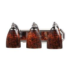 ELK lighting Bath And Spa 3 Light Vanity In Polished Chrome And Espresso Glass