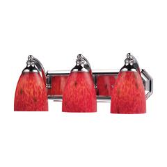 Bath And Spa 3 Light Vanity In Polished Chrome And Fire Red Glass