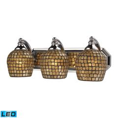 ELK lighting Bath And Spa 3 Light LED Vanity In Polished Chrome And Gold Leaf Glass