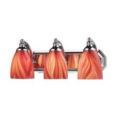Bath And Spa 3 Light Vanity In Polished Chrome And Multi Glass