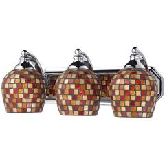 ELK lighting Bath And Spa 3 Light Vanity In Polished Chrome And Multi Fusion Glass