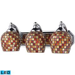 ELK lighting Bath And Spa 3 Light LED Vanity In Polished Chrome And Multi Fusion Glass