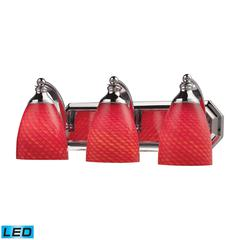 ELK lighting Bath And Spa 3 Light LED Vanity In Polished Chrome And Scarlet Red Glass