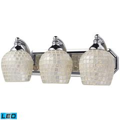 ELK lighting Bath And Spa 3 Light LED Vanity In Polished Chrome And Silver Glass