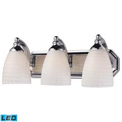 Bath And Spa 3 Light LED Vanity In Polished Chrome And White Swirl Glass