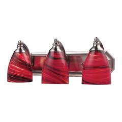 Bath And Spa 3 Light Vanity In Satin Nickel And Autumn Glass