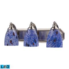 Bath And Spa 3 Light LED Vanity In Satin Nickel And Starburst Blue Glass