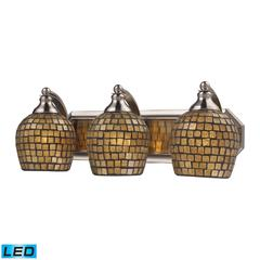 Bath And Spa 3 Light LED Vanity In Satin Nickel And Gold Leaf Glass