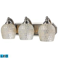 ELK lighting Bath And Spa 3 Light LED Vanity In Satin Nickel And Silver Glass