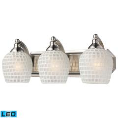 ELK lighting Bath And Spa 3 Light LED Vanity In Satin Nickel And White Glass