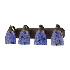 ELK lighting Bath And Spa 4 Light Vanity In Aged Bronze And Starburst Blue Glass