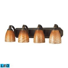 ELK lighting Bath And Spa 4 Light LED Vanity In Aged Bronze And Cocoa Glass