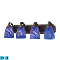 ELK lighting Bath And Spa 4 Light LED Vanity In Aged Bronze And Sapphire Glass