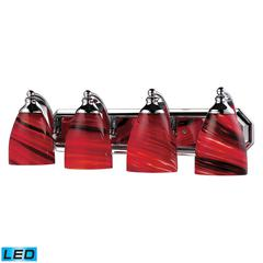 ELK lighting Bath And Spa 4 Light LED Vanity In Polished Chrome And Autumn Glass