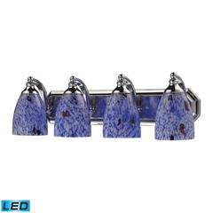 Bath And Spa 4 Light LED Vanity In Polished Chrome And Starburst Blue Glass