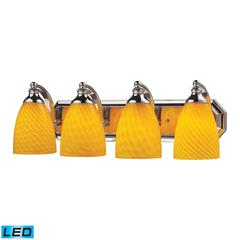 ELK lighting Bath And Spa 4 Light LED Vanity In Polished Chrome And Canary Glass