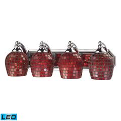 ELK lighting Bath And Spa 4 Light LED Vanity In Polished Chrome And Copper Glass