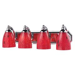 Bath And Spa 4 Light Vanity In Polished Chrome And Fire Red Glass