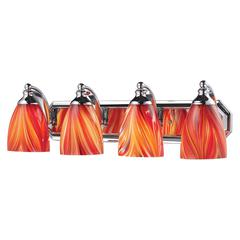 Bath And Spa 4 Light Vanity In Polished Chrome And Multi Glass