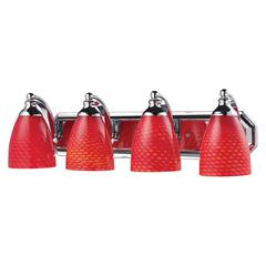 Bath And Spa 4 Light Vanity In Polished Chrome And Scarlet Red Glass