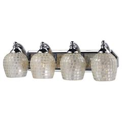 Bath And Spa 4 Light Vanity In Polished Chrome And Silver Glass