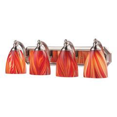 ELK lighting Bath And Spa 4 Light Vanity In Satin Nickel And Multi Glass