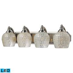 ELK lighting Bath And Spa 4 Light LED Vanity In Satin Nickel And Silver Glass
