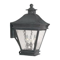 ELK lighting Landings Outdoor Wall Lantern In Charcoal And Water Glass