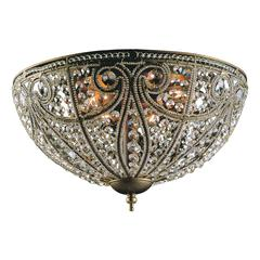 Elizabethan 6 Light Flushmount In Dark Bronze And Crystal