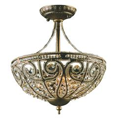 ELK lighting Elizabethan 3 Light Semi Flush In Dark Bronze