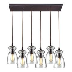 Menlow Park 6 Light Pendant In Polished Chrome And Clear Glass