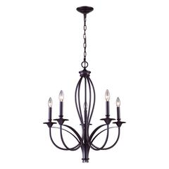 Medford 5 Light Chandelier In Oiled Bronze