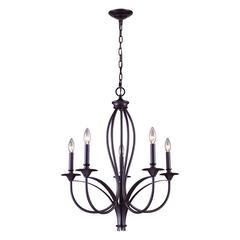 ELK lighting Medford 5 Light Chandelier In Oiled Bronze